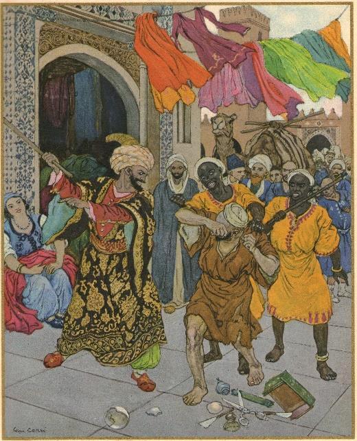 Illustration de l'histoire d'Aboukir et Abousir dans les Mille et une nuits, par Léon Carré, 1929