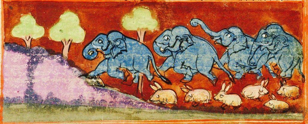 Illustration des Eléphants piétinant les lièvres, contes du Panchatantra, XVIIIe siècle Manuscrit conservé au Philadelphia Museum of Arts