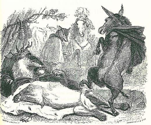 Illustration du Lion devenu vieux de Jean de La Fontaine par Jean-Jacques Grandville, XIXe siècle.