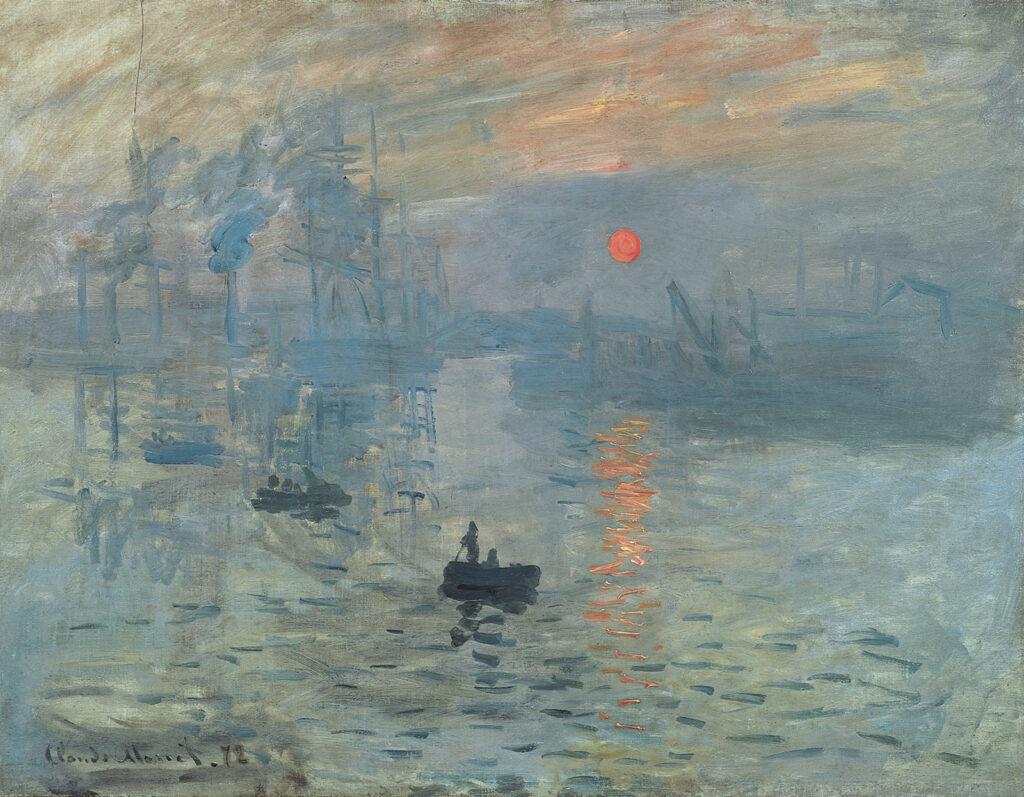 Impression soleil levant, Claude Monet 1872. Ce tableau premier du genre donnera son nom au courant impressionniste.