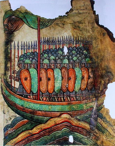 Enluminure représentant une attaque viking, tirée des Illustrations de la Vie de Saint-Aubin d'Angers (vers 1100) / CC0 Domaine public Bibliothèque nationale de France. Département des Manuscrits.