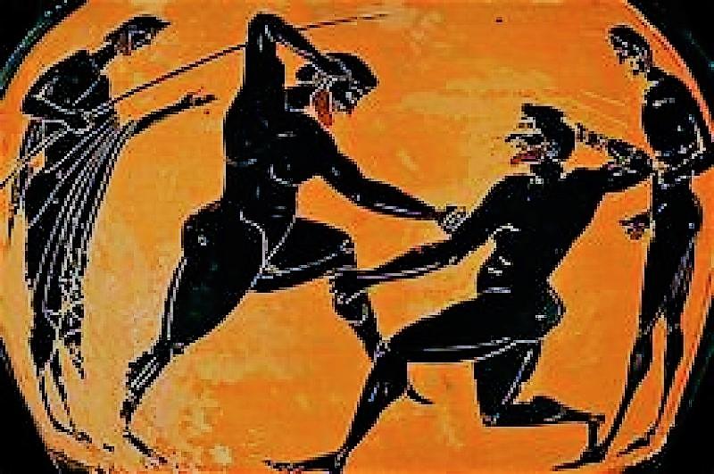 Scène de lutte en Grèce antique