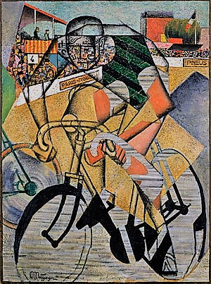 Jean Metzinger, 1912, At the Cycle-Race Track (Au Vélodrome), oil and sand on canvas, 130.4 cm × 97.1 cm (51.3 in × 38.2 in) The Solomon R. Guggenheim Foundation, Peggy Guggenheim Collection, Venice