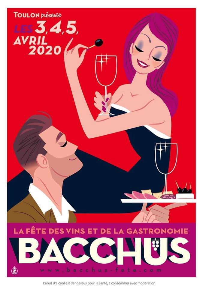 Affiche de la fête des vins et de la gastronomie Bacchus 2020