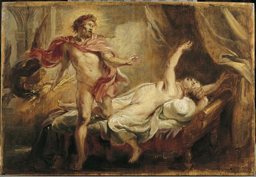 """""""Jupiter et Sémélé"""" - Peter Paul Rubens - Huile sur bois aux Musées royaux des Beaux Arts de Belgique"""