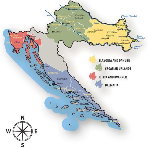 Carte des régions viticoles de Croatie © 2016 Les Robes de l'Est
