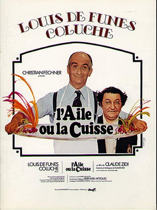 Affiche l'aile ou la cuisse Coluche et De Funès