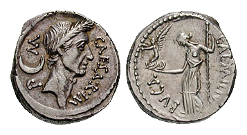 Deniers d'argent à l'effigie de Jules César