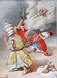 Caricature de la Séparation des églises et de l'état, amorce du principe de laïcité