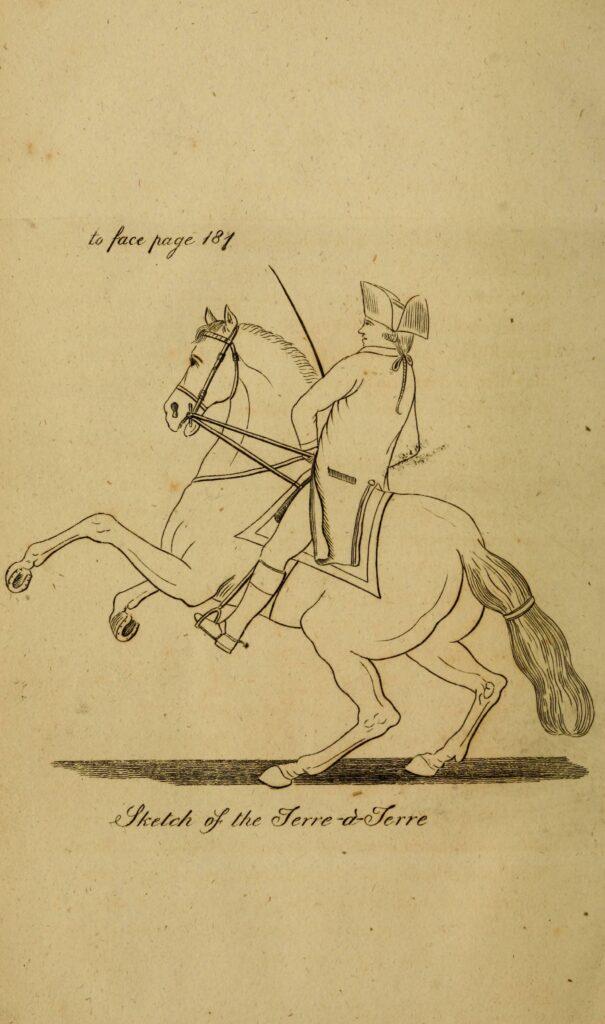 Dessin de Philip Astley lors d'un exercice équestre