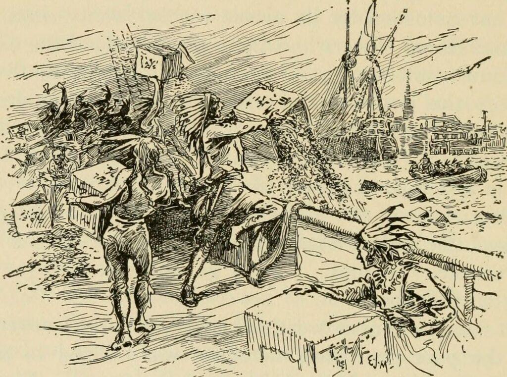 Le thé passe par dessus bord lors de la Boston Tea Party / Gravure extraite de A First Book in Amercicain history with European beginnings, de Gertrude Van Duyn Southworth