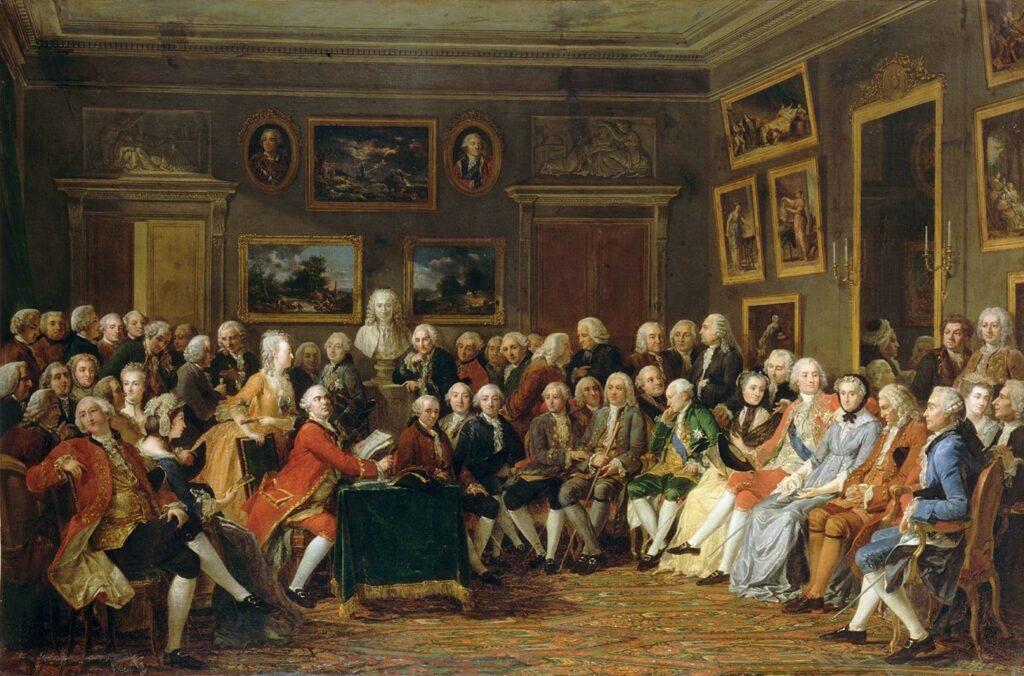 Salon de Mme Geoffrin, lecture de L'orphelin de la chine par Voltaire, peinture par Lemonnier
