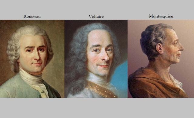 Portraits des Philosophes Rousseau, Voltaire et Montesquieu