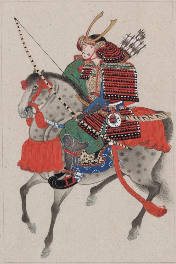 Samouraï à cheval / peinture vers 1878 / Bibliothèque du Congrès américain