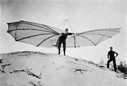 Otto Lilienthal lors d'un essai