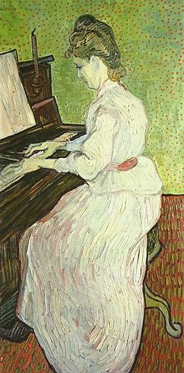 Marguerite Gachet au piano peinture à l'huile sur toile (102,6 × 50 cm) juin 1890