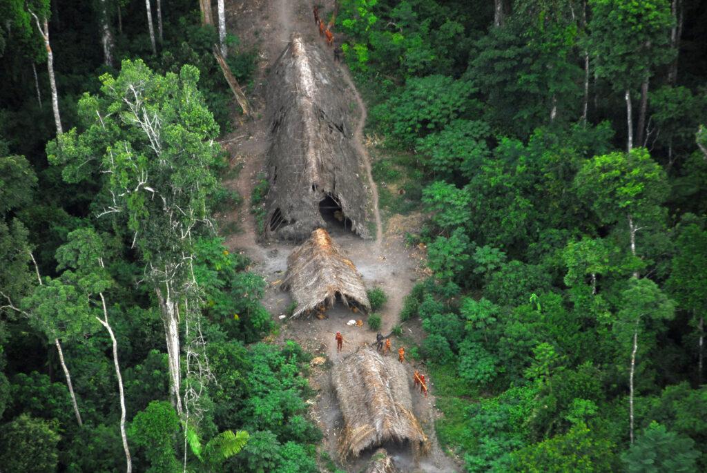 Des photos prises depuis le ciel au-dessus de l'Amazonie brésilienne en 2008 montrent l'installation d'un peuple non contacté. © G. Miranda/FUNAI/Survival International