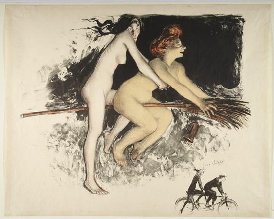 Jean Veber – « Les Sorcières ou Tandem » (1900); lithographie en coul. ; 56,7 x 45,2 cm (f.); Éditeur : Duchâtel ([Paris]) / Wikicommons.
