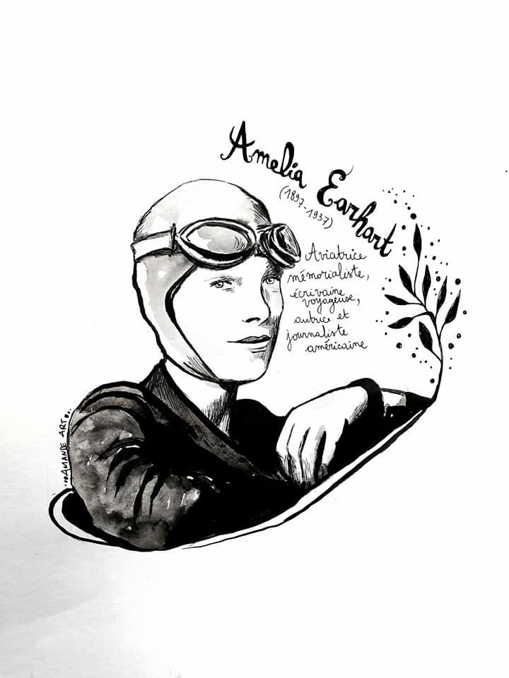 Illustration d'Amélia Earhart par Amande Art