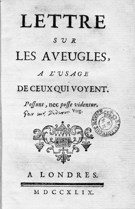 Un exemple de livre audio : Lettre sur les aveugles à l'usage de ceux qui voient de Denis Diderot – Lecture d'Olivier Gaiffe