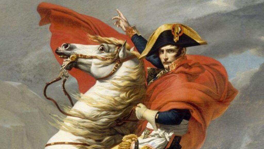 Jacques-Louis David, Bonaparte Premier Consul franchissant le Grand-Saint-Bernard le 20 mai 1800, 1802, Versailles, musée national des châteaux de Versailles et de Trianon – La Villette