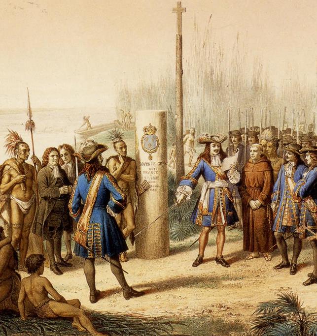 Prise de Possession de la Louisiane et du Fleuve Mississipi au Nom de Louis XIV, par Cavelier de la Salle, le 9 Avril 1682 Bocquin, Jean-Adolphe (1826-1880). Lithographe - Crédit