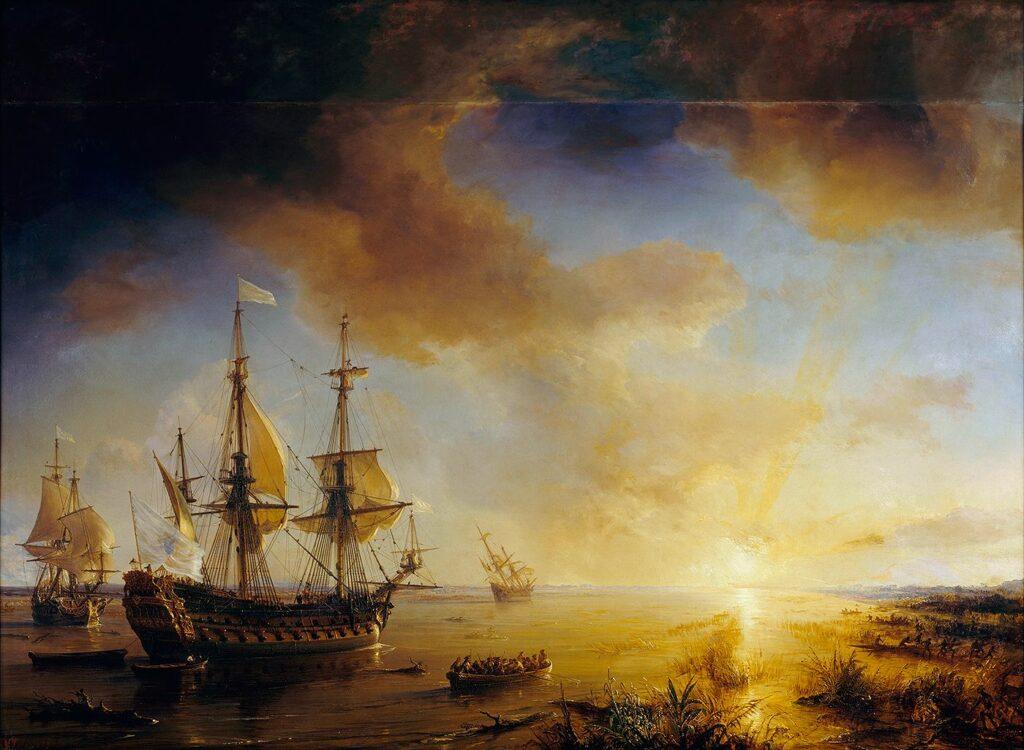 Expédition de Robert Cavelier de La Salle à la Louisiane en 1684, peint en 1844 par Théodore Gudin – Domaine public