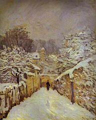 La neige à Louveciennes, Alfred Sisley, 1878, huile sur toile. Oeuvre de la collection de G. Feydeau