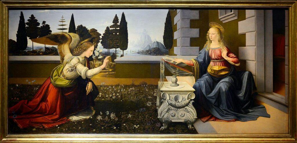 L' Annonciation, Léonard de Vinci, conservation à la Galerie des Offices à Florence -  photo wikimediacommons
