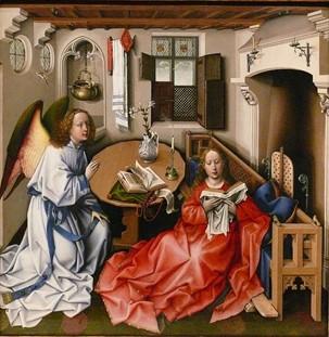 Robert Campin, Triptyque de l'Annonciation vers 1432 conservé au Metropolitan Museum of Art