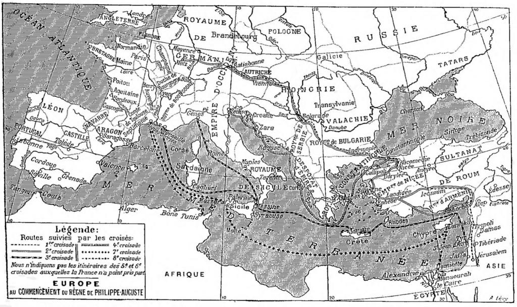 Carte des six croisades médiévales auxquelles les Français ont participé