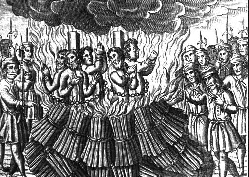 Hommes enchaînés et brûlés comme hérétiques par l'Inquisition pontificale pouvant représenter des Cathares du Languedoc
