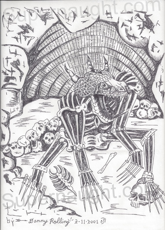 """Art du crime : Danny Rolling serial killer dubbed the Gainesville Ripper executed by the State of Florida on October 25, 2006.  Original 9"""" x 12"""" dinosaur creature type drawing with skulls.  Signed and dated, """"By —-> Danny Rolling 2-11-2001"""". (en vente en galerie)"""
