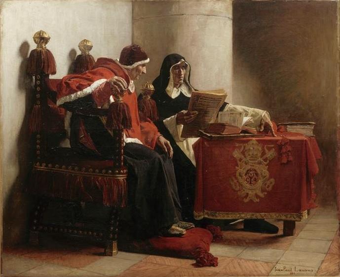Jean-Paul Laurens, Le pape et l'inquisiteur, 1882 (le pape Sixte IV à côté du grand inquisiteur Torquemada), huile sur toile, 113 x 134 cm, musée des Beaux-Arts, Bordeaux