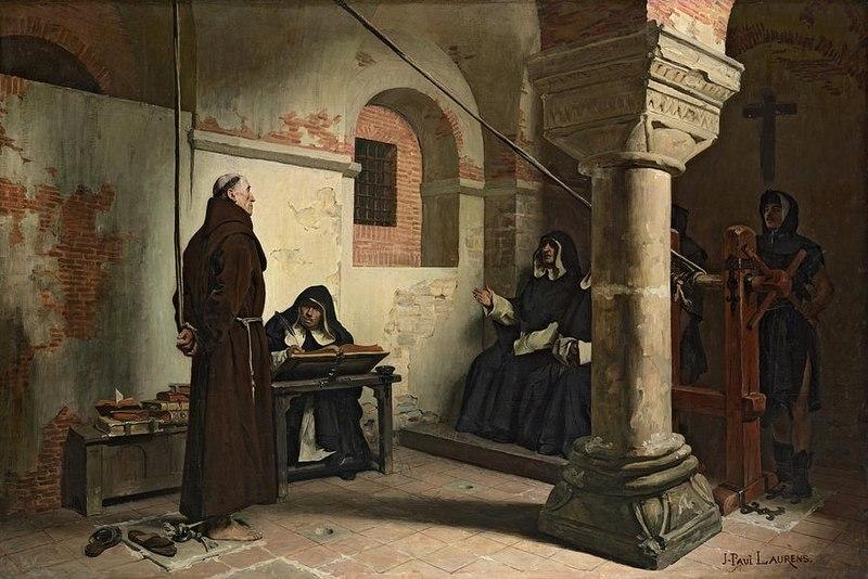Jean-Paul Laurens, L'interrogatoire, 1881, huile sur toile, 27 x 41 cm, Musée  d'Orsay, Paris