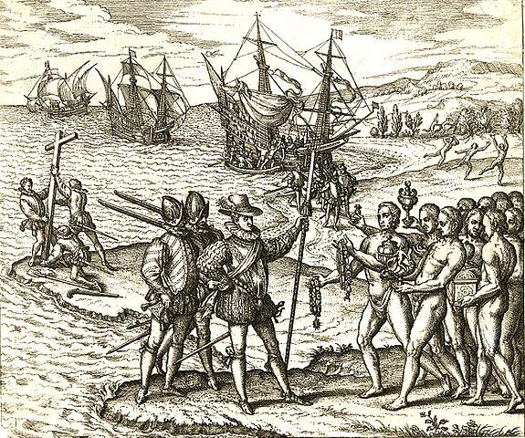 Le débarquement de Christophe Colomb sur l'île d'Hispaniola (gravure de Theodor de Bry, 16ème siècle)